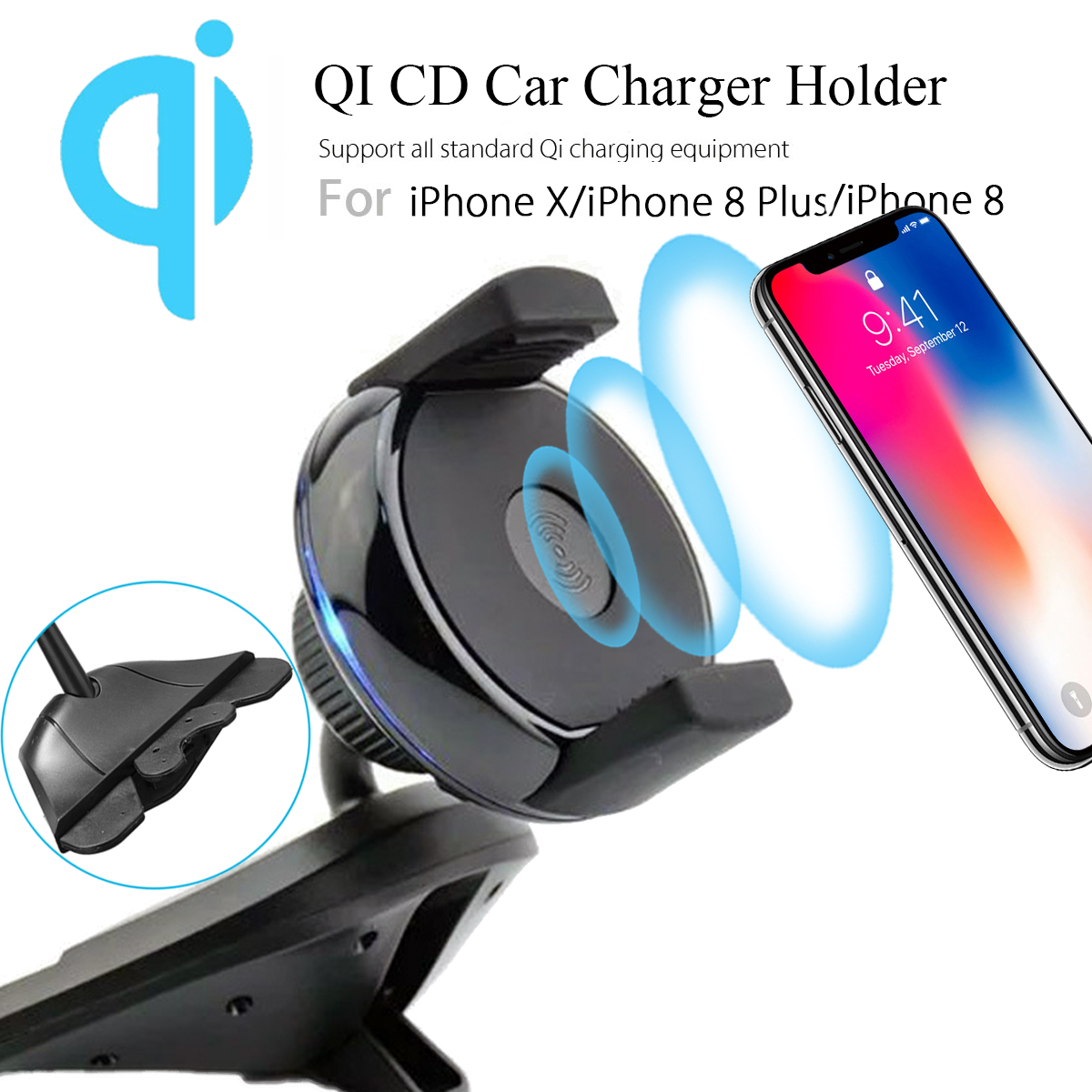 Qi Wireless Charger Car Charging Cd Slot Holder Mount