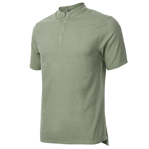 Mens Casual Long Style T-shirts Fashion Comfortable Breathable Cotton Linen T-shirt