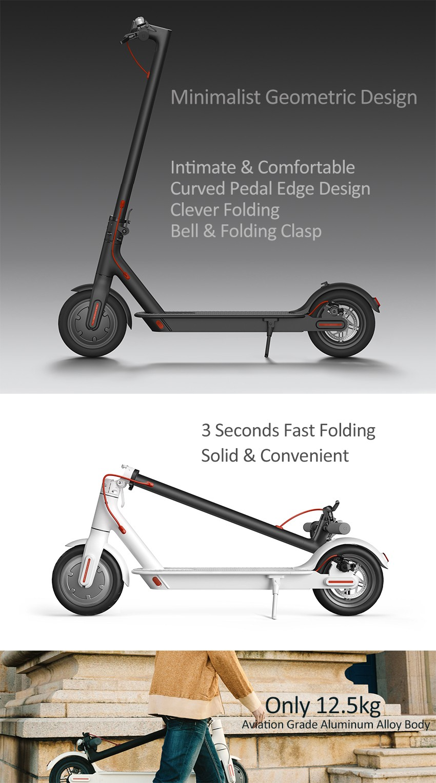 Xiaomi M365 Ip54 Black Folding Two Wheels Electric Scooter 125kg Manual Cableado Electrico Minimoto Chopper 49 Ultralight 30km Long Life Intelligent