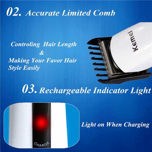 Kemei Rechargeable Hair Trimmer Men Baby Clipper Cutting Electric Beard Shaver Razor