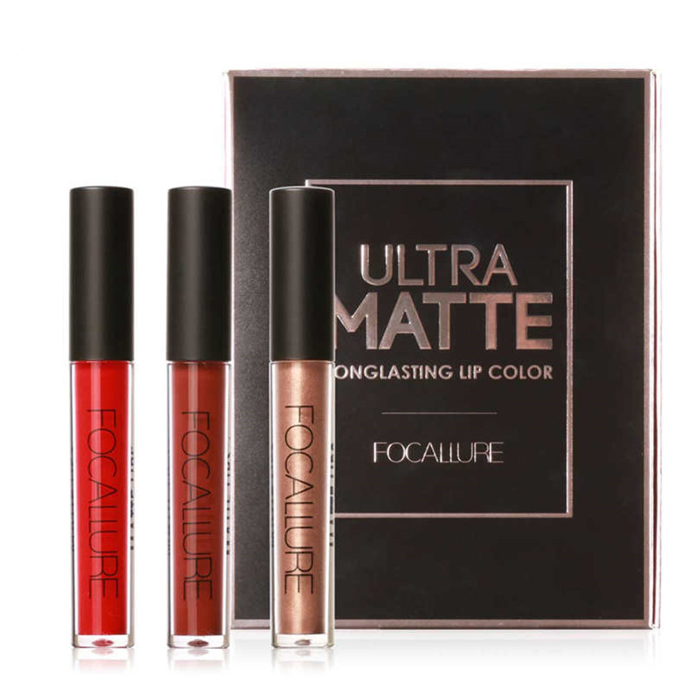 FOCALLURE 3Pcs/Kit Matte Metallic Lip Gloss Waterproof Makeup Gold Shimmer Liquid Lipstick