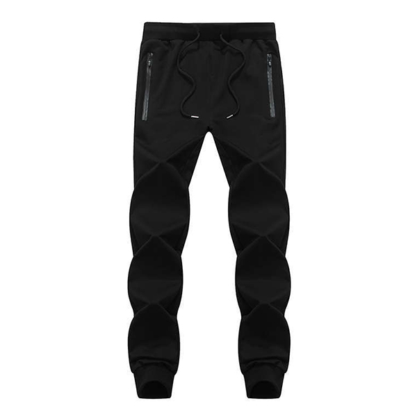 Mens Plus Size Casual Elastic Waist Jogging Sports Pants Solid Color Slim Fit Sport Trousers