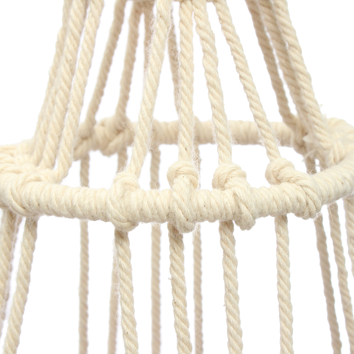63cm 4 Legs Creamy-white Jute Plant Hanger Flower Pot Holder Flowerbed Hanging Basket