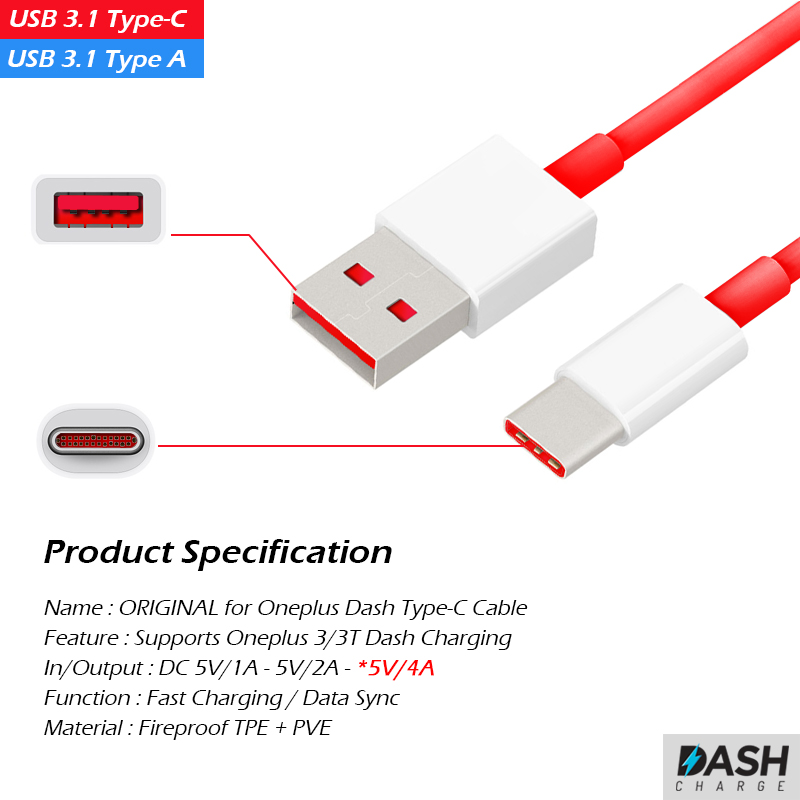 Original Oneplus 5 Dash Fast Charger Adapter Type-C Charging Cable 1M for OnePlus 5