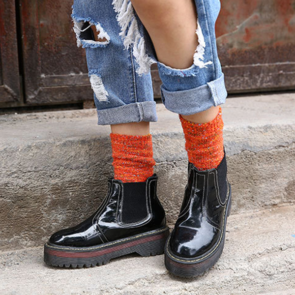 Women Artistic Colorful Warm Middle Tube Socks Winter Thick Lines Piles Socks
