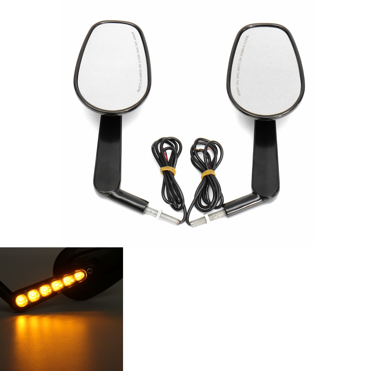 Black Rear Mirrors Turn Signals For Harley Davidson V-R
