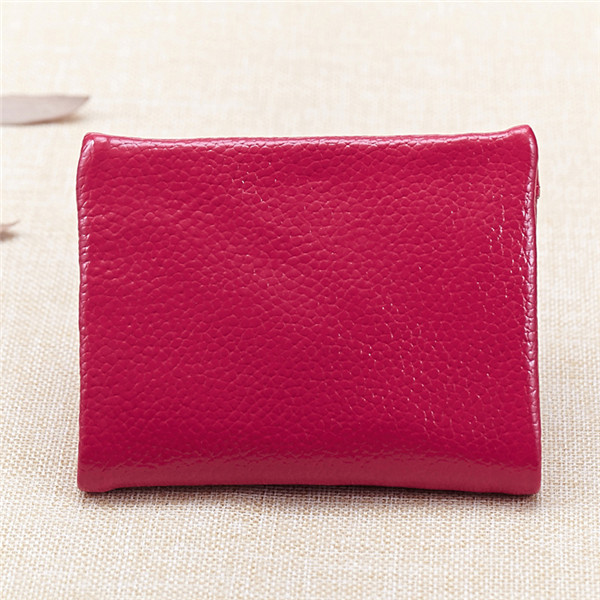 Women Men Genuine Leather Short Wallet Elegant Zipper Purse Card Holder Coin Bags