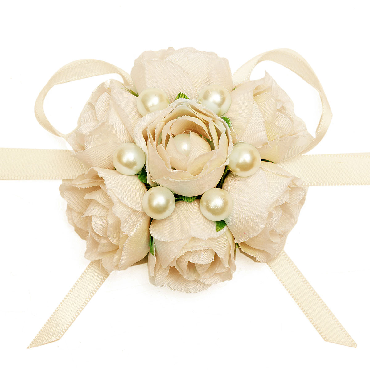 Bridemaid Silk Rose Flower Pearl Bracelet Wrist Corsage Wedding Party Bridal Accessories