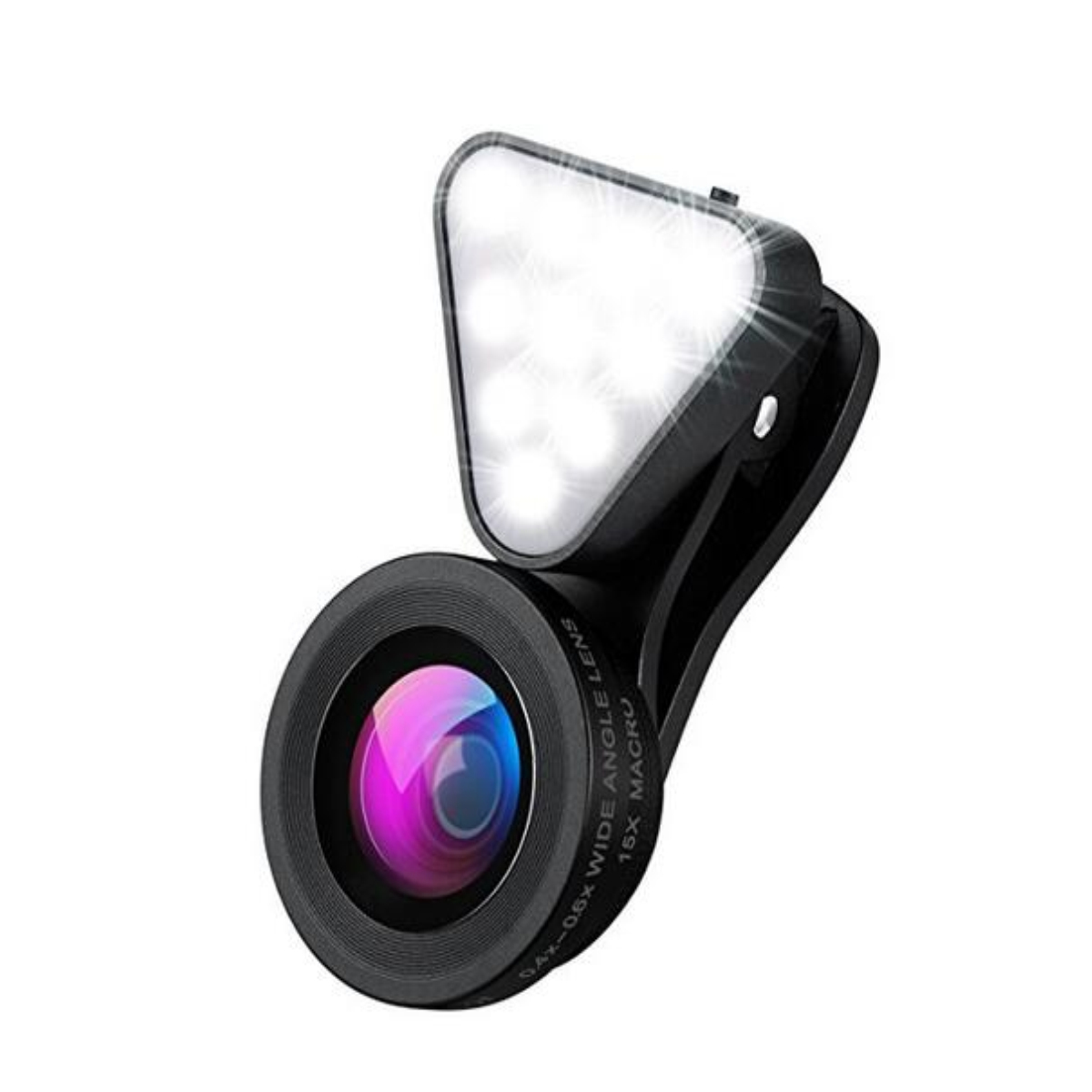 2 in 1 Clip-on Glass Lens Wide Angle Lens with Recharge