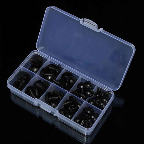 52pcs 12-20mm Black Plastic Safety Eyes for Teddy Bear Doll Animal Puppet Crafts