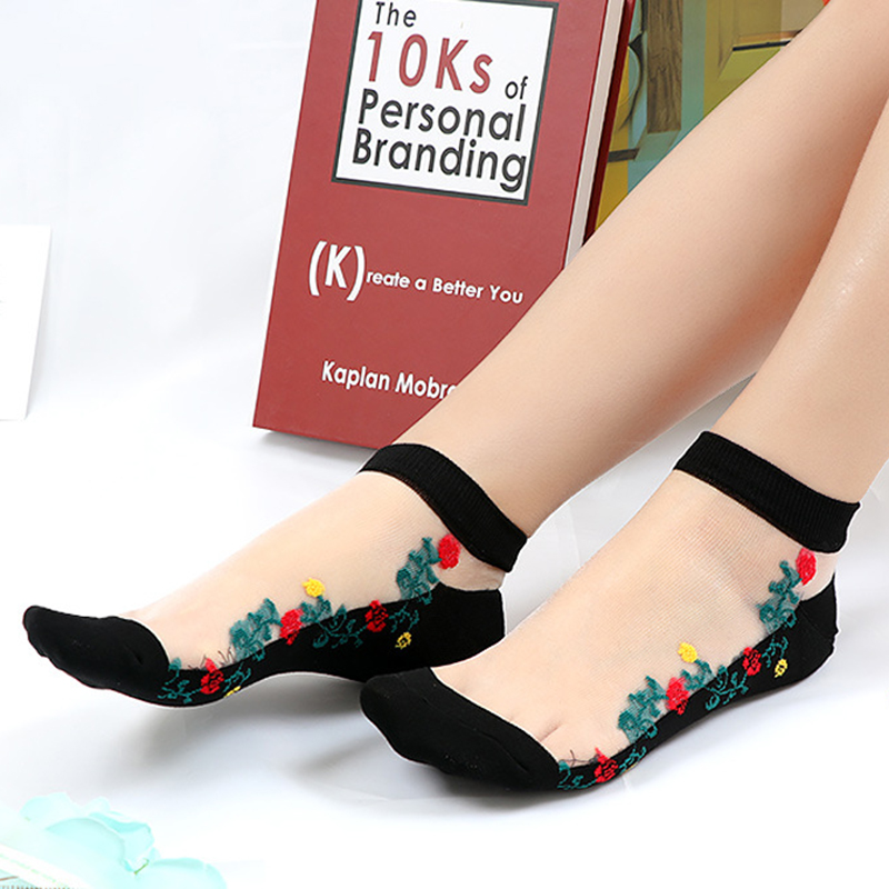 Women Embroidered Cotton Lace Low Cut Non Slip Socks