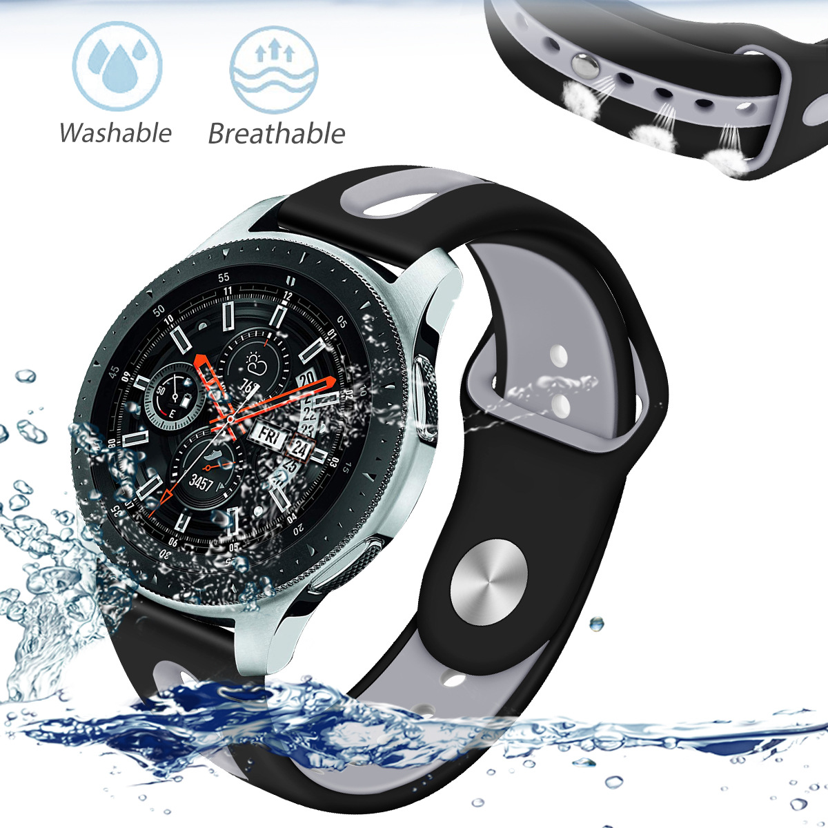 Bakeey 22mm two-color Silicone Smart Men Watch Band Strap for Samsung Galaxy SM-R810 Smart Watch
