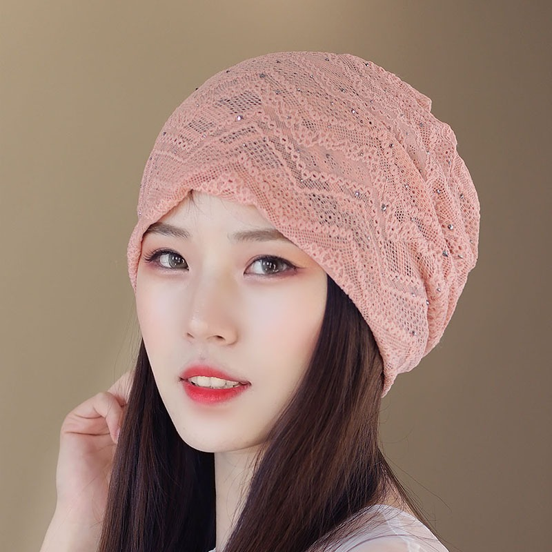 Women Lace Hollow Out Breathable Thin Casual Beanie Cap