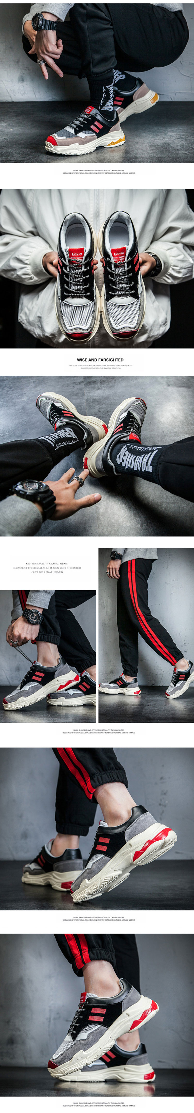 Outdoor Fashion Sport Men Casual Mixed Color Lace Up Street Style Platform Running Shoes Sneakers