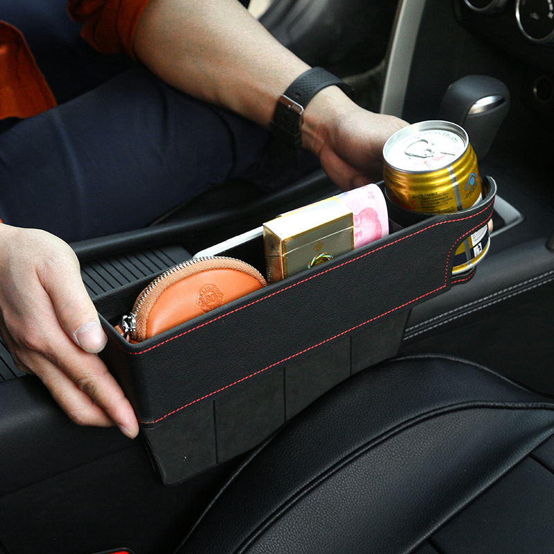 Detachable Car Seat Crevice Gap Storage Box Organizer Leather Cup Holder Double Sided Installation