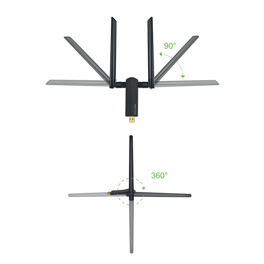 1200Mbps 5Ghz 2.4Ghz Dual Band Wireless USB Adapter With Two 5dBi External Antenna Wifi Network Card