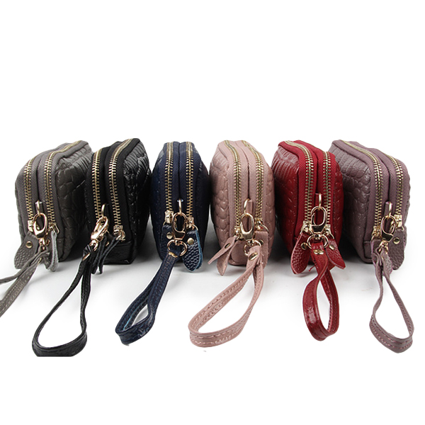 Women Stone Pattern Clutches Bags Double Zipper Long Wallet Card Holder 5.5'' Phone Purse For Iphone