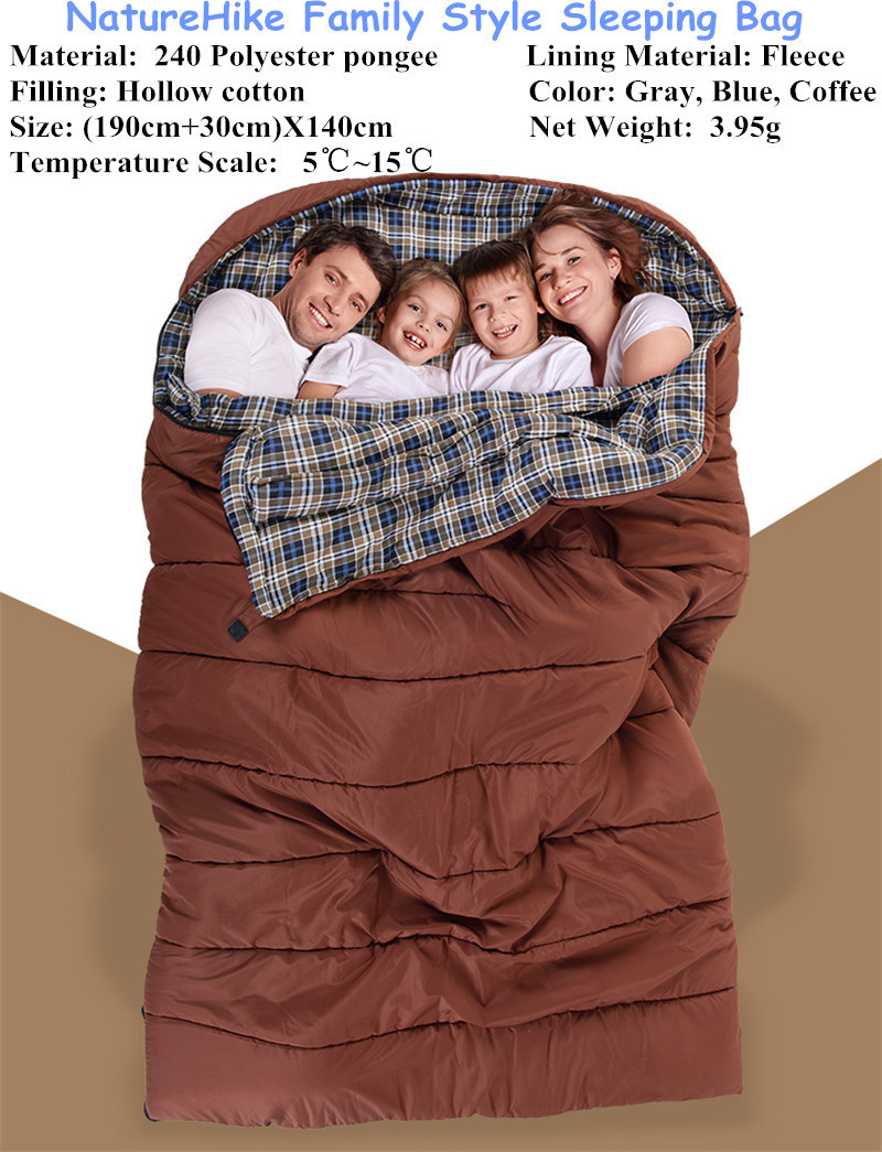 Naturehike Outdoor Travel Three Person Sleeping Bag Winter Camping Family Sleeping Bag