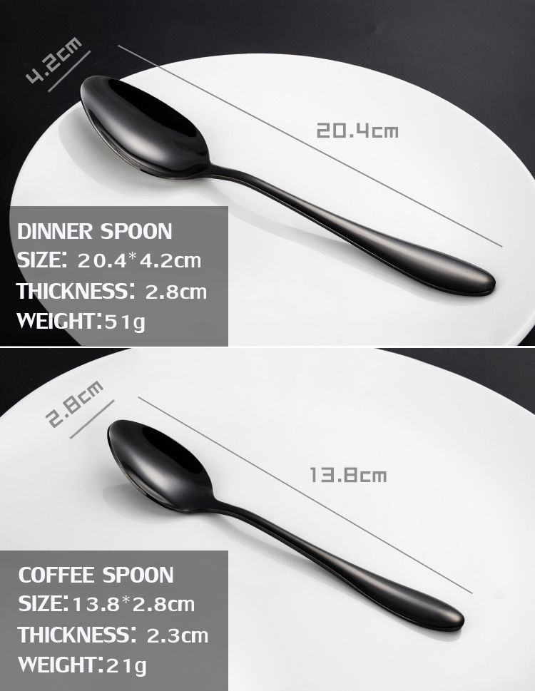 KCASA™ Stainless Steel Black Gold Flatware Dinnerware Cutlery Fork Knife & Spoons Tableware Set