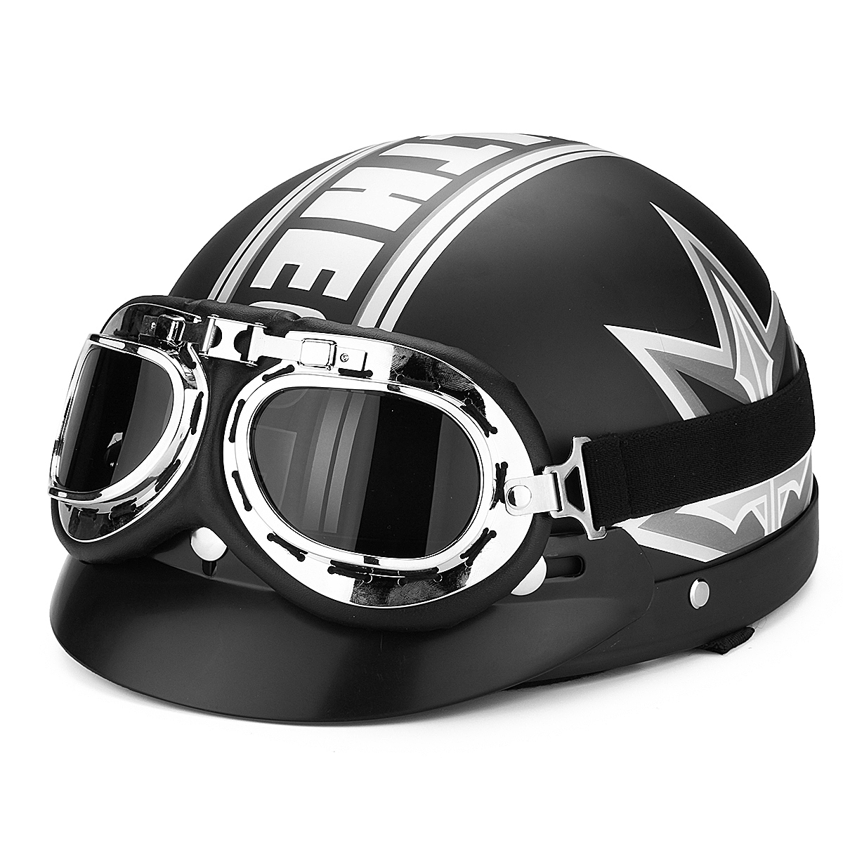 Black Motorcycle Scooter Half Open Face Helmet With UV Goggles For Harley