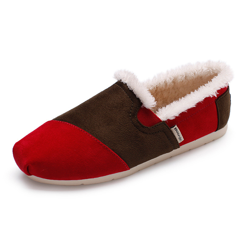 Women Keep Warm Plush Slip On Flat Loafers