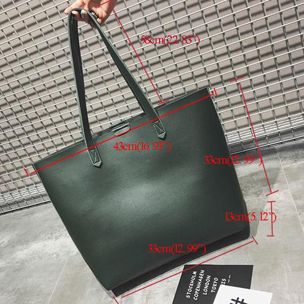 Vintage Pure Color Simple Handbags Shoulder Bags For Women
