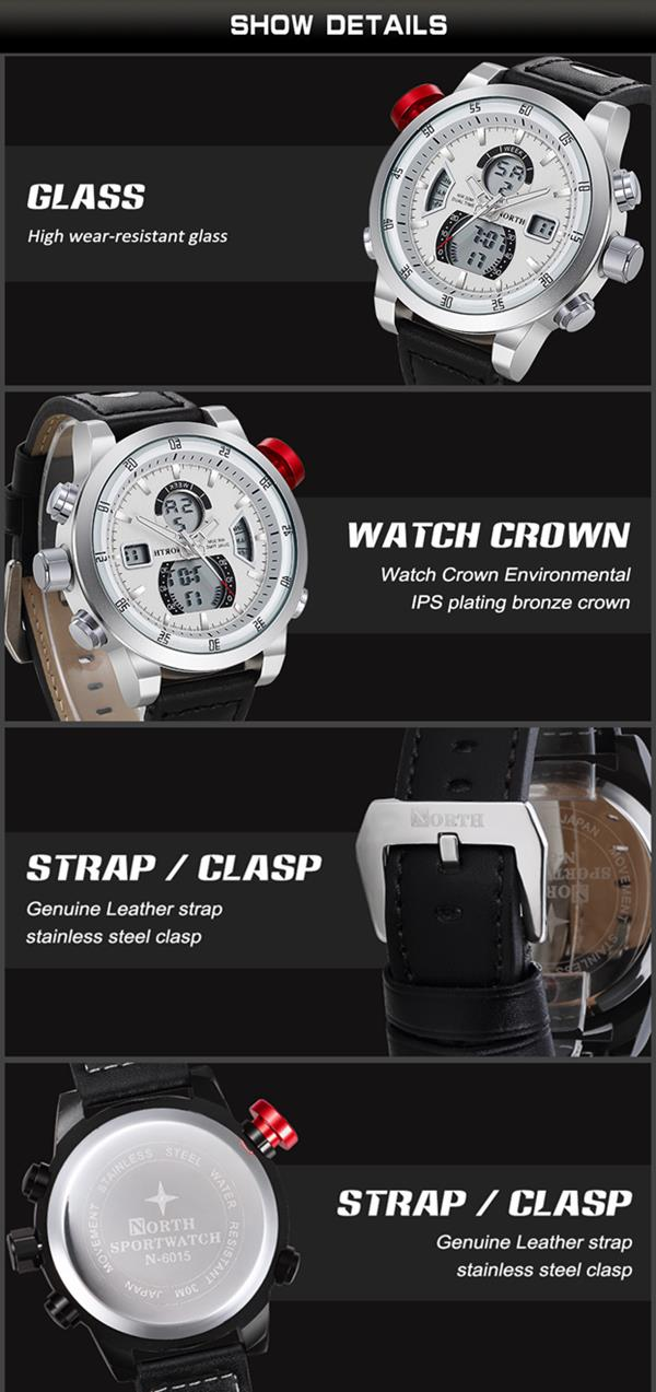 NORTH 6024 Fashion Men Digital Watch Luxury Muti-function Sports Watch