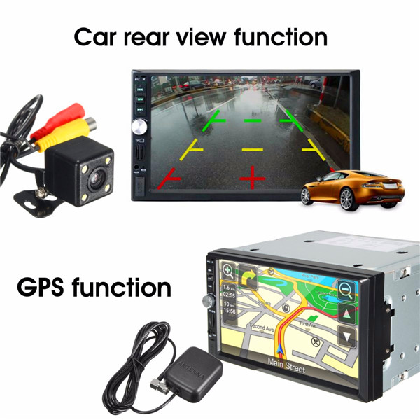 7 Inch bluetooth Car GPS MP5 FM Player USB TF 2 DIN In Dash + 170 degree Rear View Camera