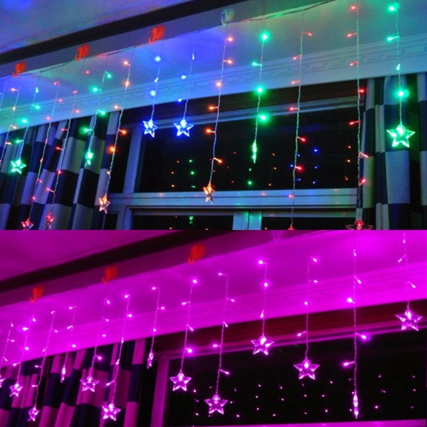Multi 3.5M 100SMD Five-Pointed Star LED String Curtain Lights Xmas Wedding Decor 110V