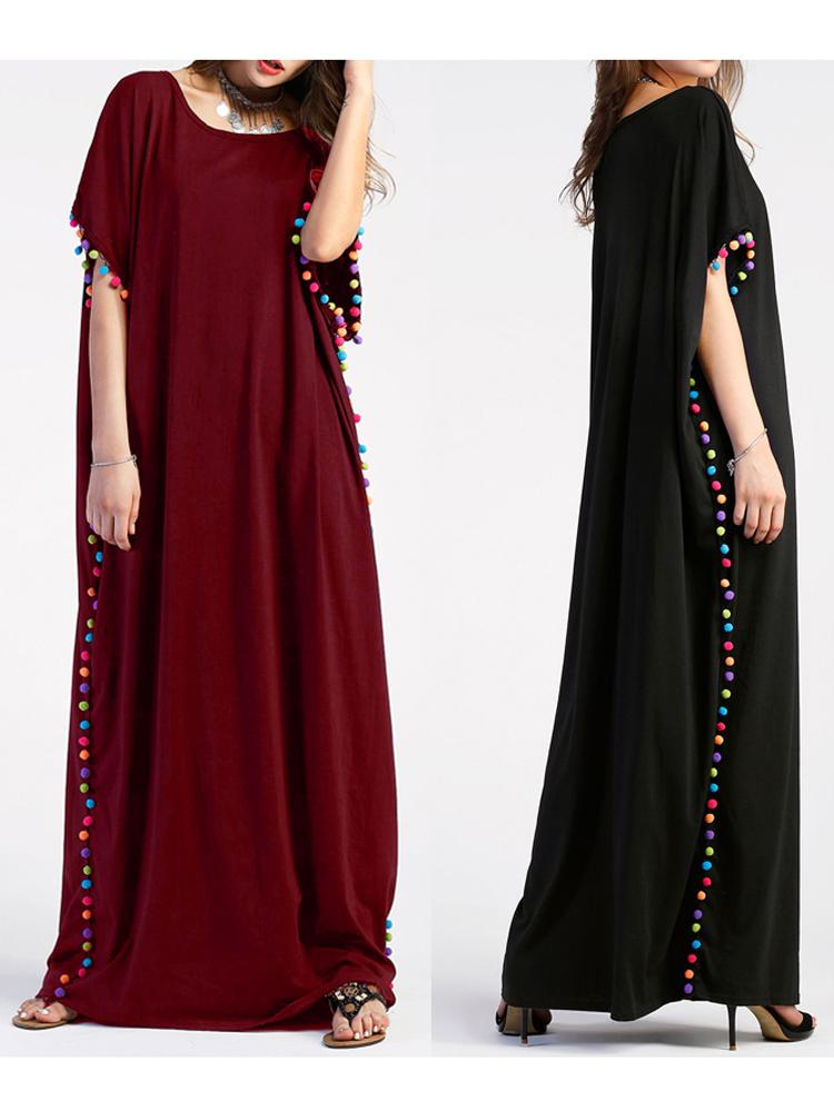 Casual Women Long Dress Loose Short Sleeve Tassels Maxi Dresses