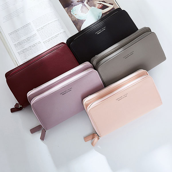 Women Double Zipper Long Wallets Candy Color Purse Card Holder Chain Shoulder Bags