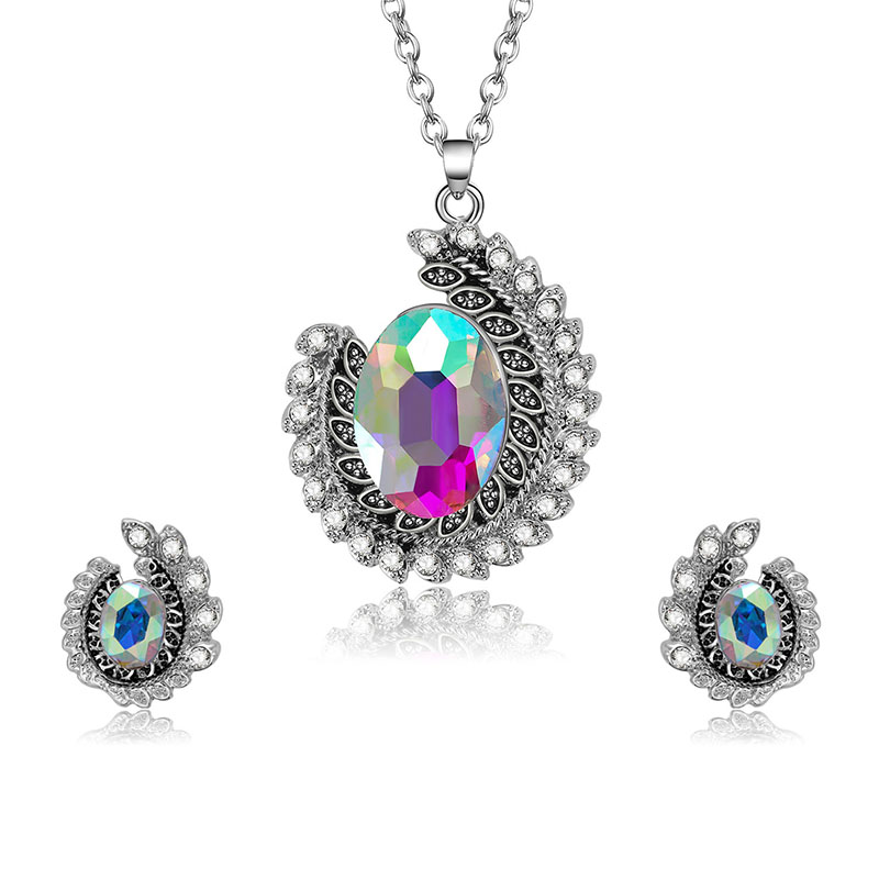 Fashion Wedding Bridal Jewelry Set Colorful Rhinestone
