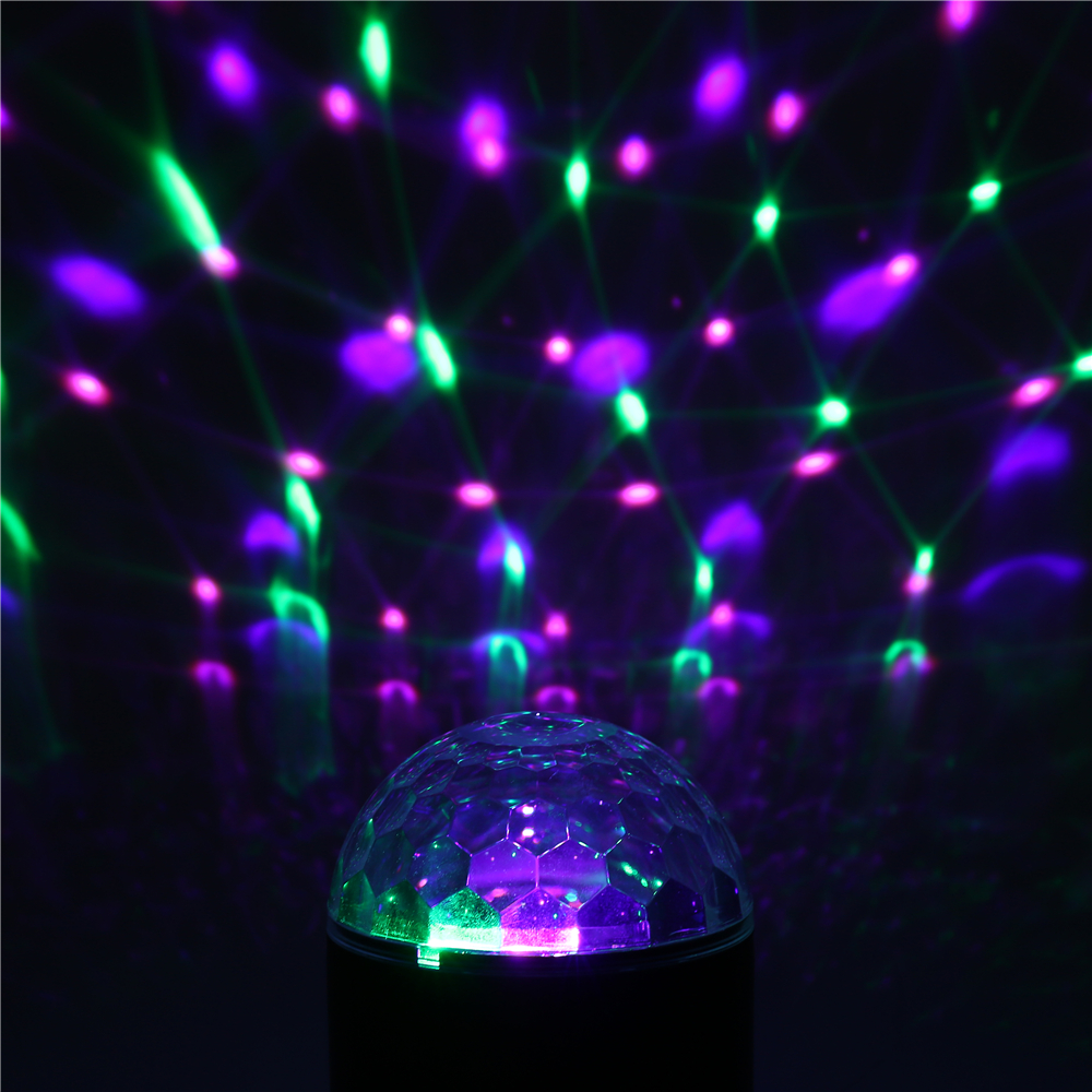 SOLMORE Colorful 9W Sound Activated USB LED Crystal Ball Stage Light Remote bluetooth Disco Party