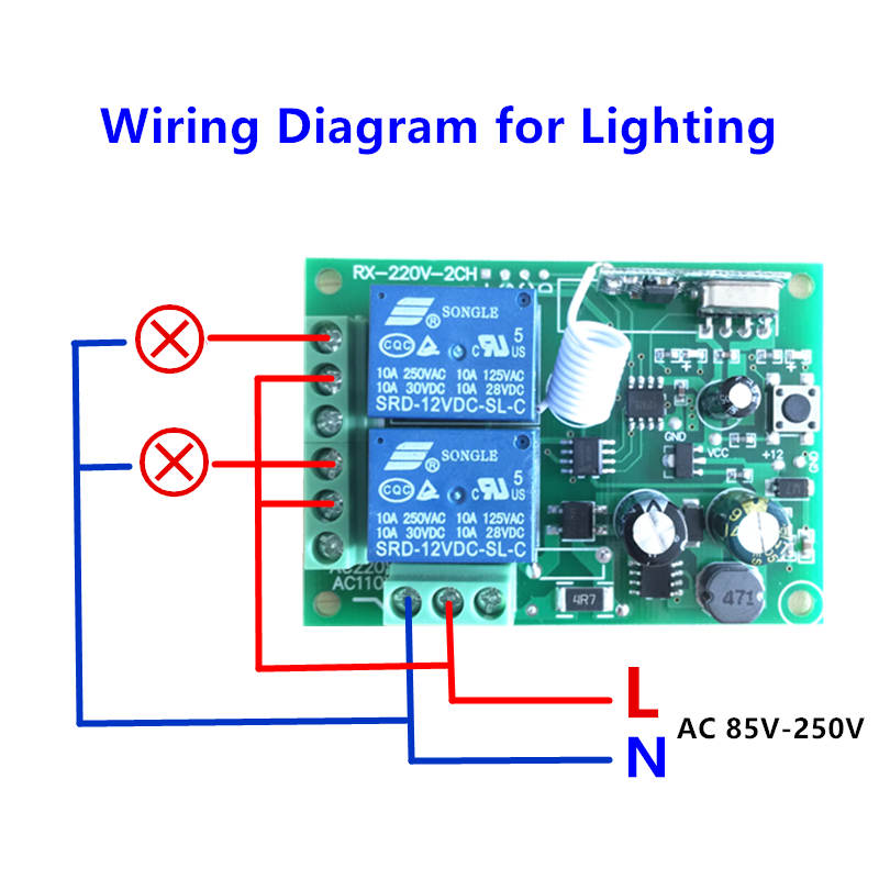 315/433Mhz Wireless Remote Control Switch AC 250V 110V 220V 2CH Relay Receiver Module with RF Remote Controls