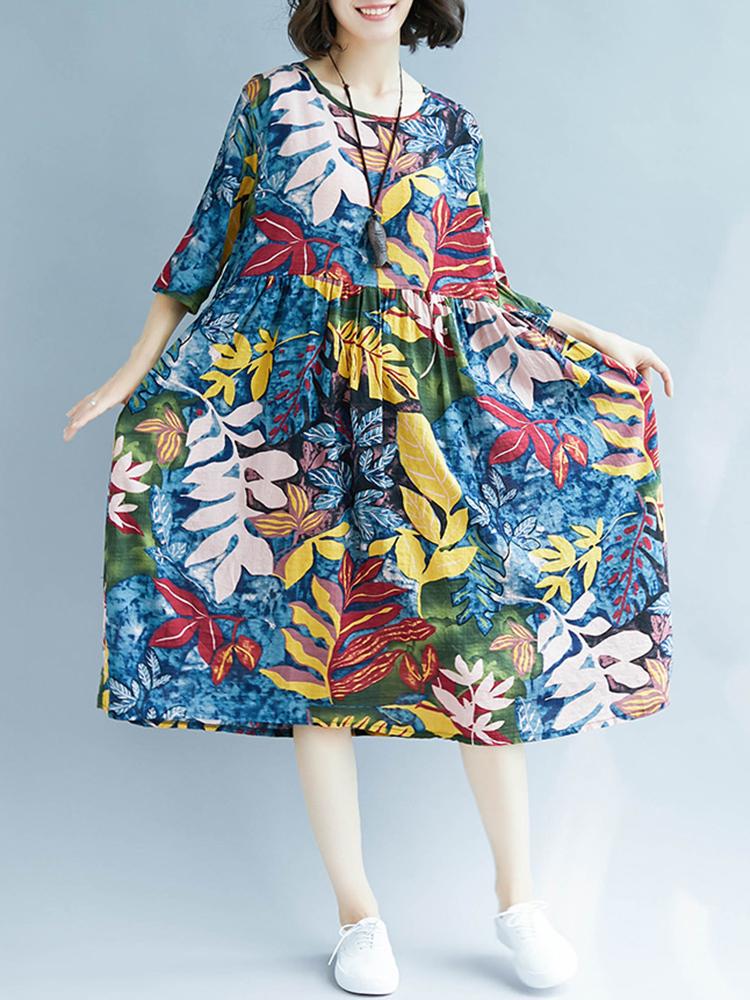 Retro Women Loose Cotton Linen Floral Print Mid Long Dress