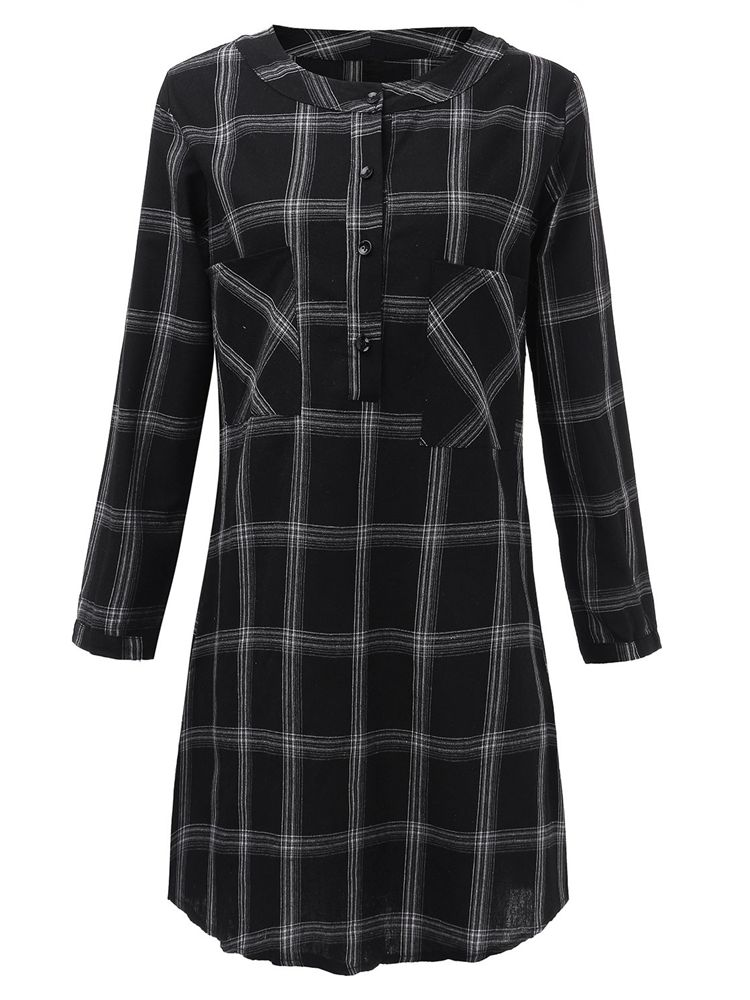 Women Checked Loose Dress