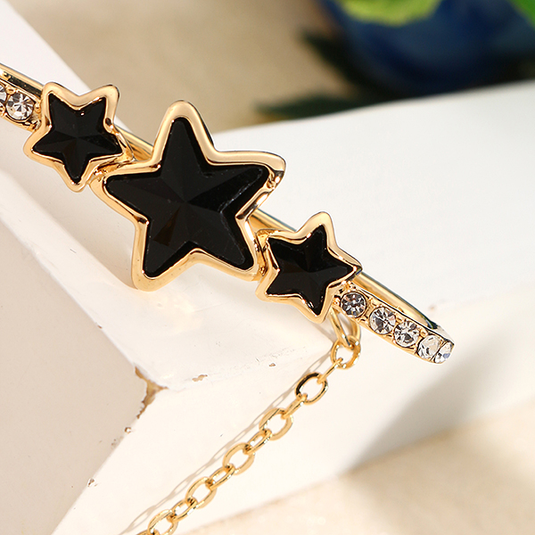 Inlaid Crystal Tassel Charm Star 18K Gold Plated Ear Cuff