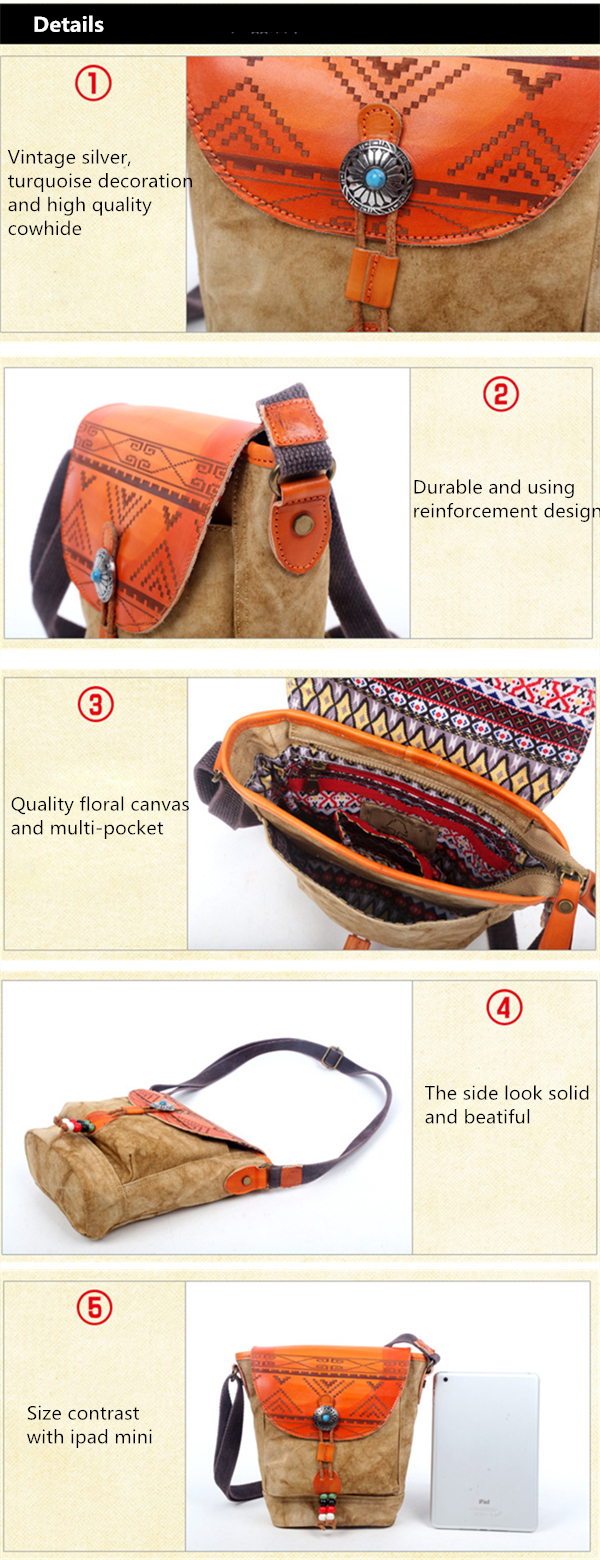 Women Luxury Genuine Leather Canvas National Style Shoulder Bag Silver Decoration Crossbody Bags
