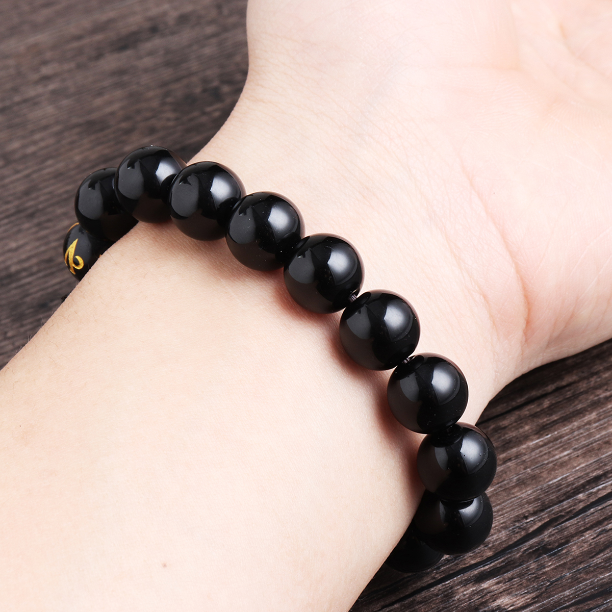 Natural Rainbow Black Eye Obsidian Buddha Bracelet for Men