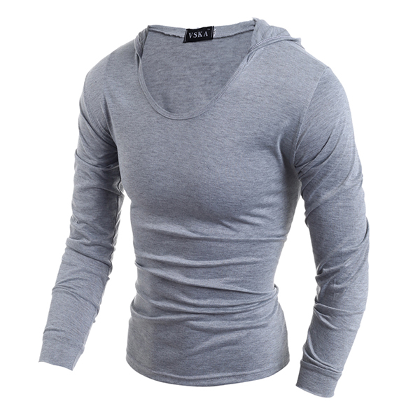 Fashion Style Hooded T-shirt Mens Casual Solid Long Sleeve Stretched Tops Tees