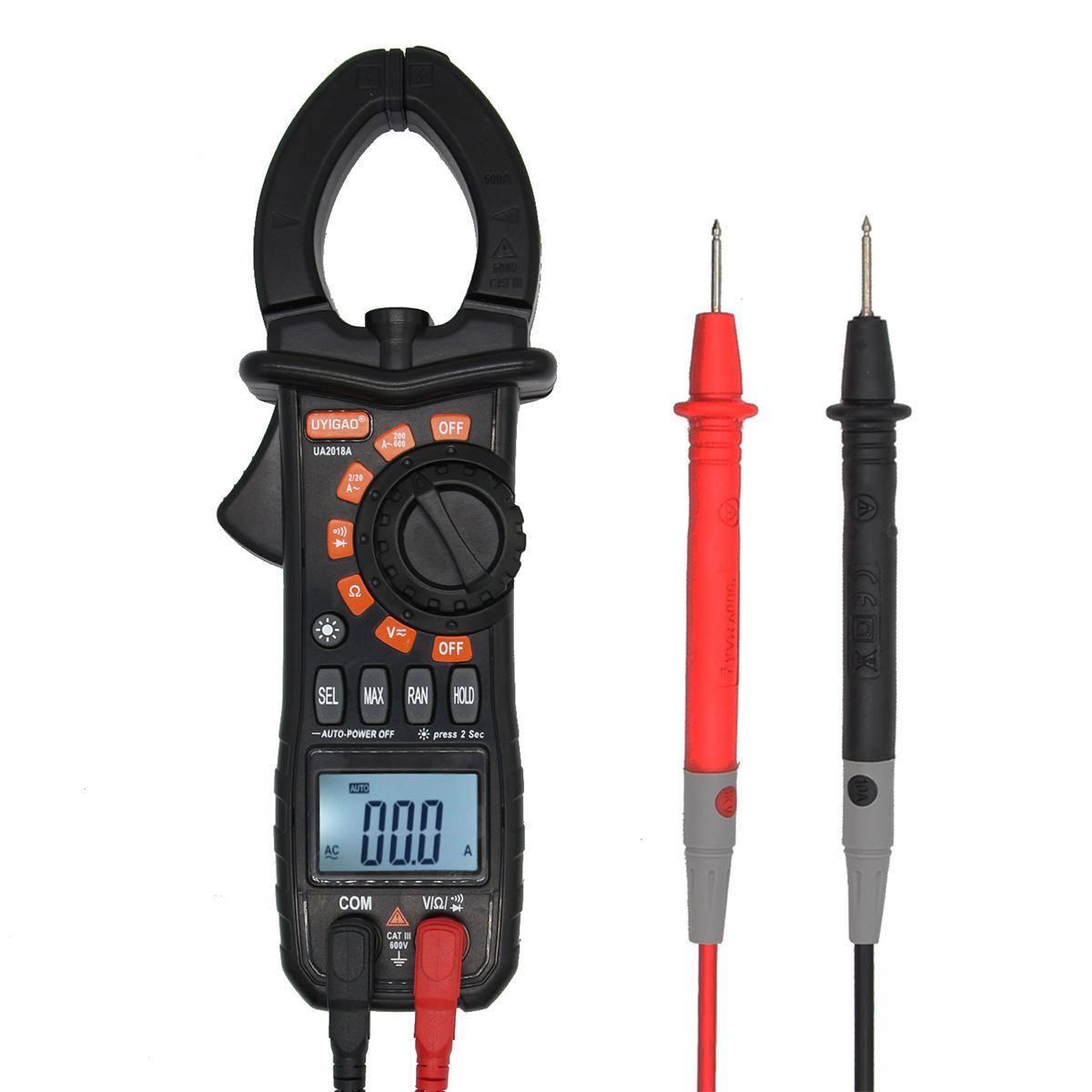 UA2018A LED Clamp Digital Voltmeter Ammeter Ohmmeter Multimeter Tester with Flashlight