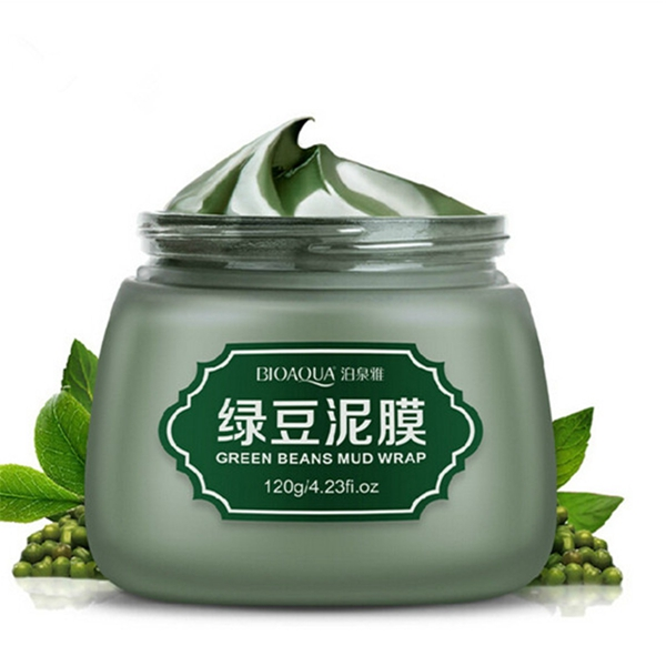 BIOAOUA Green Beans Mud Facial Mask Shrink Pore Acne Treatment Sooth Skin Care 120g