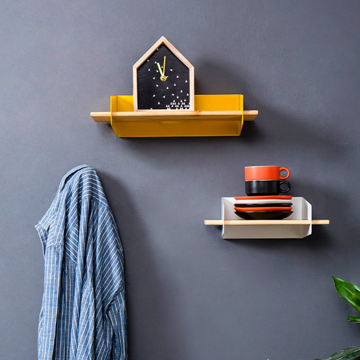 5 Color 20CM Floating Wall Mounted Shelf Hanging Holder Storage Iron Wood Display Bookshelf Bracket