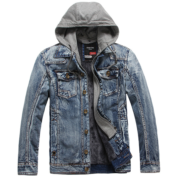 Mens Thick Denim Pockets Hooded Jackets Fashion Casual Fake Two Pieces Coat