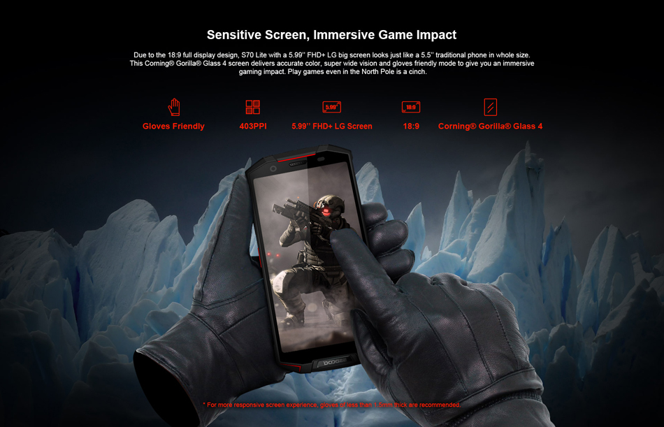 DOOGEE S70 Lite Global Bands 5.99 Inch IP68 5500mAh NFC 4GB 64GB Helio P23 Gaming Rugged Smartphone