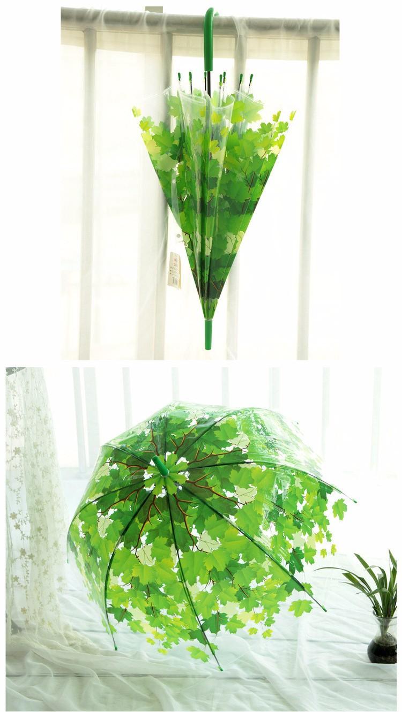 Creative Colorful Parasol Leaves Umbrella Transparent Mushroom Arch Tree Fresh PVC Bubble Rain Gear