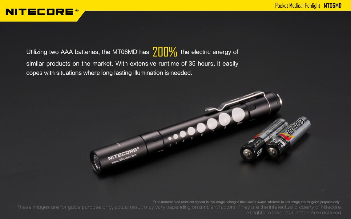 Nitecore MT06MD Nichia 219B 180LM LED Pocket Medical Pen Light Flashlight