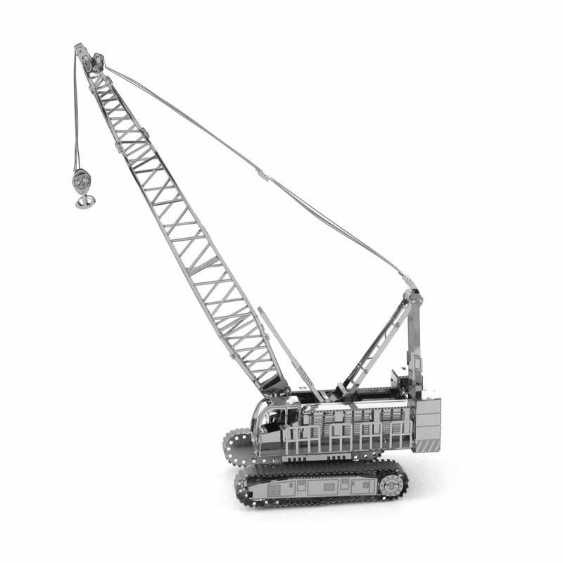 Aipin DIY 3D Mental Puzzle Stainless Steel Assembled Model Crane Sliver Color For Kids Children Gift