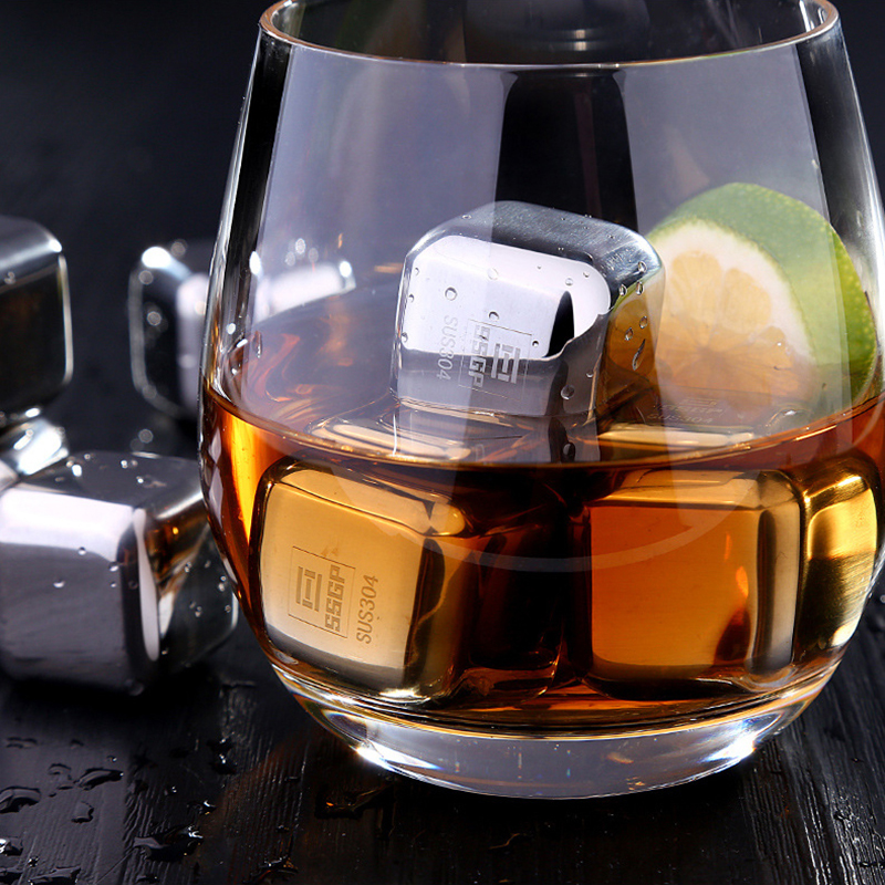 8Pcs Stainless Steel Chilling Whisky Stone Reusable Ice Cube Rock for Wine Drinks Beverage