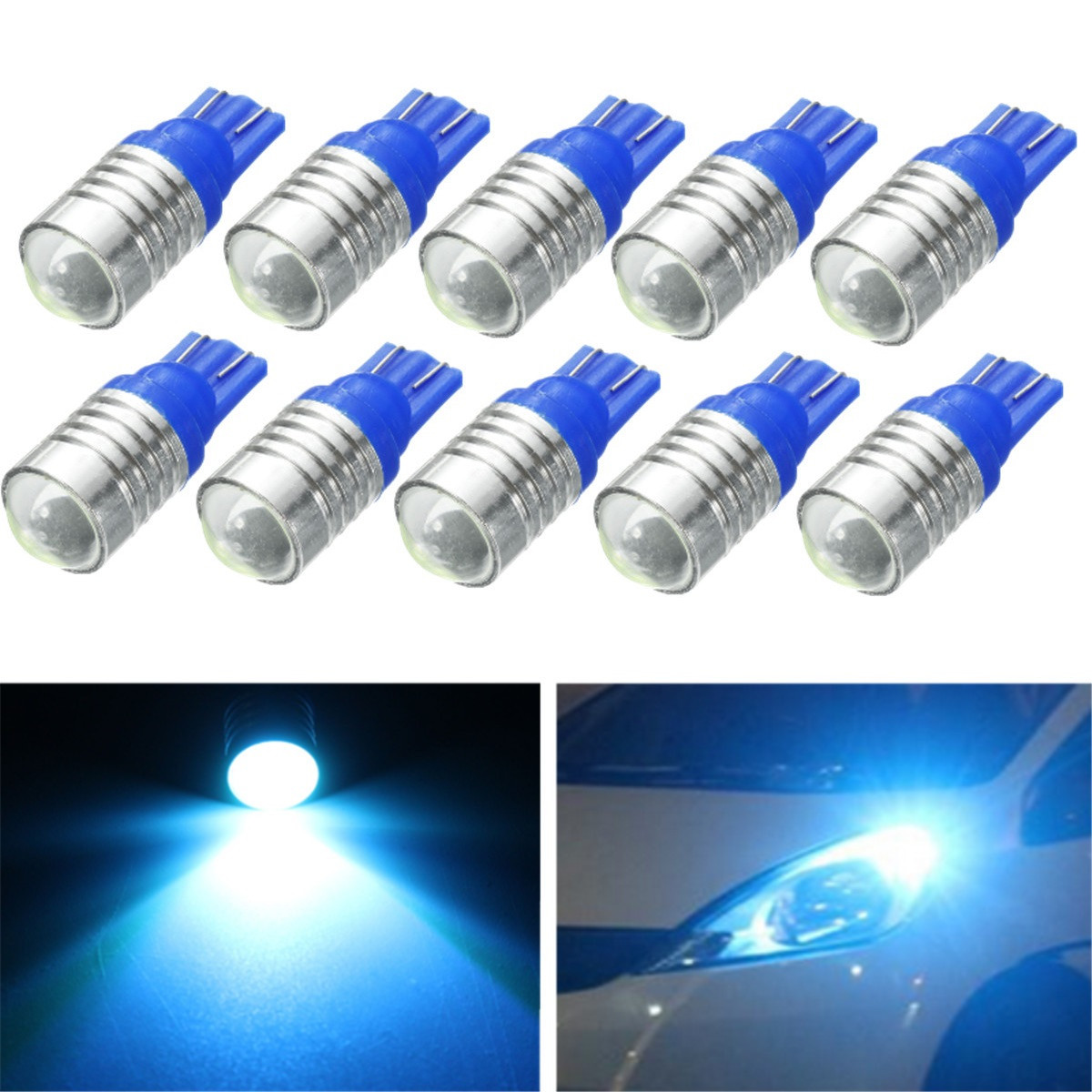 10Pcs Ice Blue T10 3W LED Car Interior Exterior Replacement Bulb Light